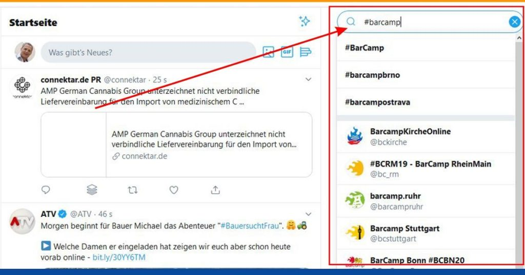 Hashtag Muster: #barcamp Suche